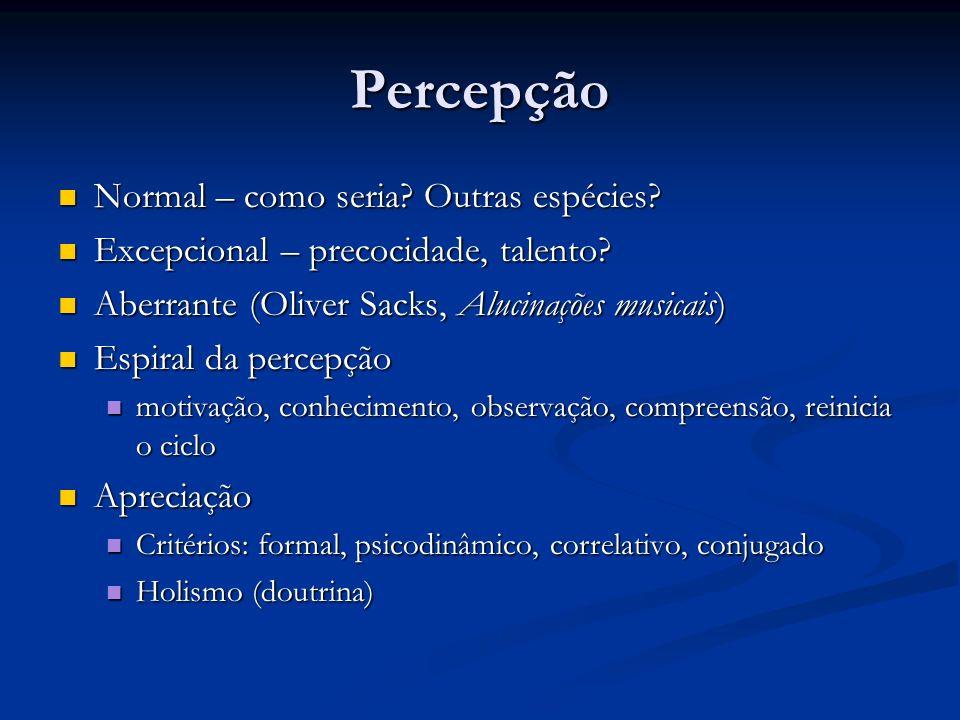 Percepção Normal – como seria? Outras espécies? Normal – como seria? Outras espécies? Excepcional – precocidade, talento? Excepcional – precocidade, t