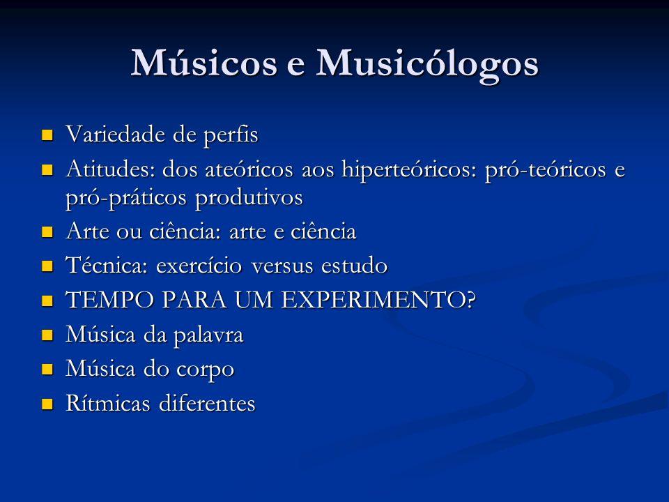 Músicos e Musicólogos Variedade de perfis Variedade de perfis Atitudes: dos ateóricos aos hiperteóricos: pró-teóricos e pró-práticos produtivos Atitud