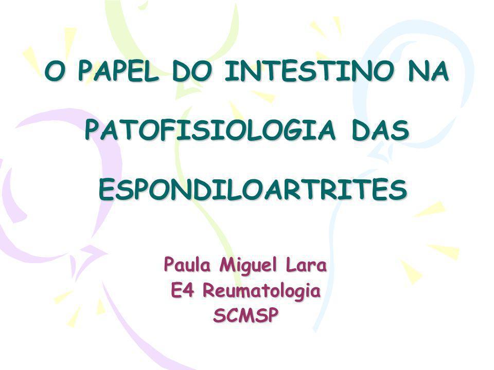 O PAPEL DO INTESTINO NA PATOFISIOLOGIA DAS ESPONDILOARTRITES Paula Miguel Lara E4 Reumatologia SCMSP