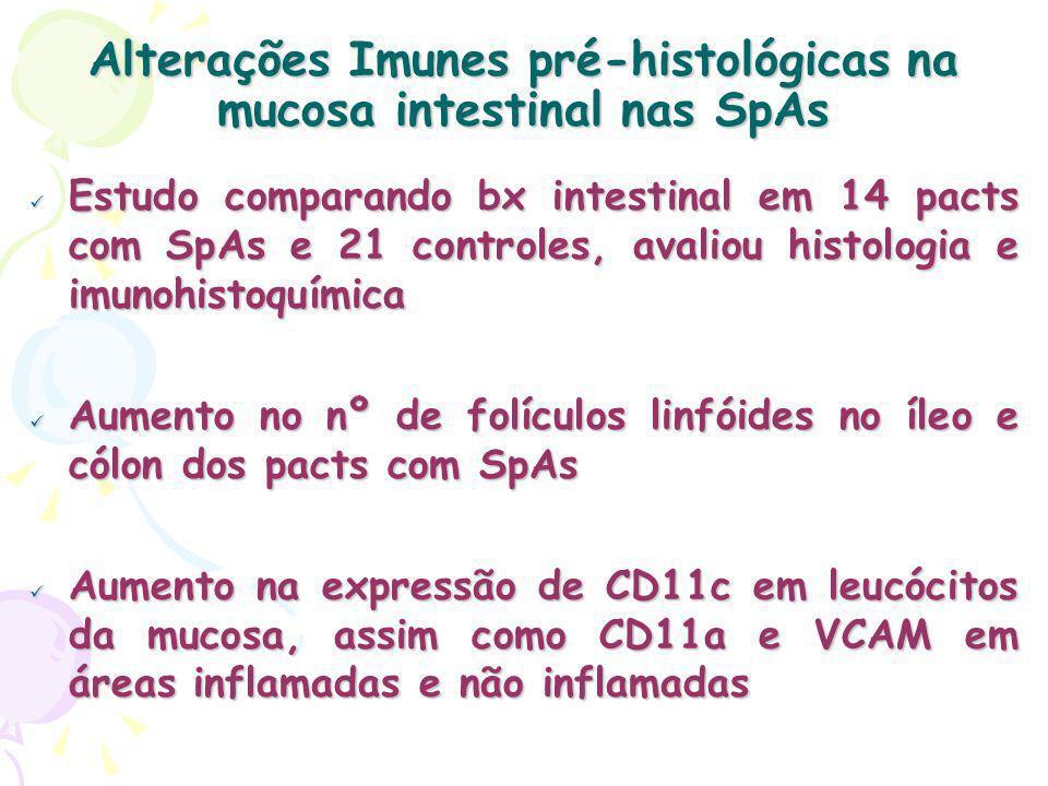 Alterações Imunes pré-histológicas na mucosa intestinal nas SpAs Estudo comparando bx intestinal em 14 pacts com SpAs e 21 controles, avaliou histologia e imunohistoquímica Estudo comparando bx intestinal em 14 pacts com SpAs e 21 controles, avaliou histologia e imunohistoquímica Aumento no nº de folículos linfóides no íleo e cólon dos pacts com SpAs Aumento no nº de folículos linfóides no íleo e cólon dos pacts com SpAs Aumento na expressão de CD11c em leucócitos da mucosa, assim como CD11a e VCAM em áreas inflamadas e não inflamadas Aumento na expressão de CD11c em leucócitos da mucosa, assim como CD11a e VCAM em áreas inflamadas e não inflamadas