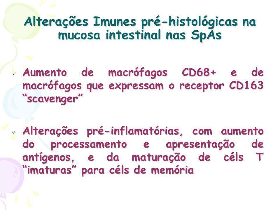 Alterações Imunes pré-histológicas na mucosa intestinal nas SpAs Aumento de macrófagos CD68+ e de macrófagos que expressam o receptor CD163 scavenger Aumento de macrófagos CD68+ e de macrófagos que expressam o receptor CD163 scavenger Alterações pré-inflamatórias, com aumento do processamento e apresentação de antígenos, e da maturação de céls T imaturas para céls de memória Alterações pré-inflamatórias, com aumento do processamento e apresentação de antígenos, e da maturação de céls T imaturas para céls de memória