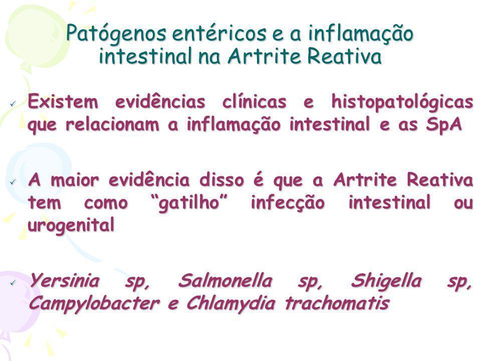 Patógenos entéricos e a inflamação intestinal na Artrite Reativa Existem evidências clínicas e histopatológicas que relacionam a inflamação intestinal e as SpA Existem evidências clínicas e histopatológicas que relacionam a inflamação intestinal e as SpA A maior evidência disso é que a Artrite Reativa tem como gatilho infecção intestinal ou urogenital A maior evidência disso é que a Artrite Reativa tem como gatilho infecção intestinal ou urogenital Yersinia sp, Salmonella sp, Shigella sp, Campylobacter e Chlamydia trachomatis Yersinia sp, Salmonella sp, Shigella sp, Campylobacter e Chlamydia trachomatis