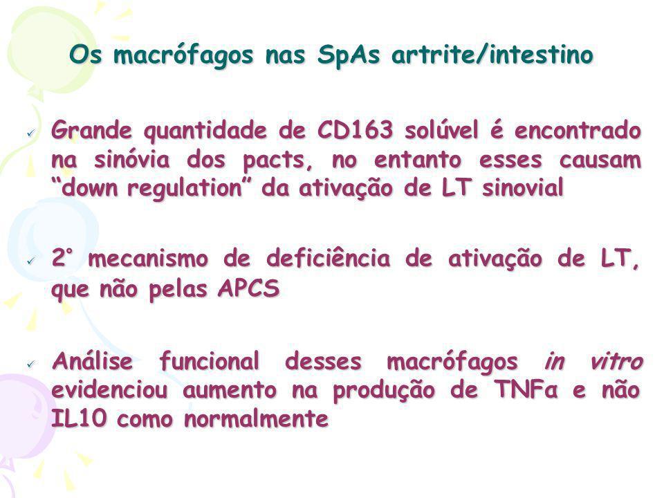 Os macrófagos nas SpAs artrite/intestino Grande quantidade de CD163 solúvel é encontrado na sinóvia dos pacts, no entanto esses causam down regulation da ativação de LT sinovial Grande quantidade de CD163 solúvel é encontrado na sinóvia dos pacts, no entanto esses causam down regulation da ativação de LT sinovial 2° mecanismo de deficiência de ativação de LT, que não pelas APCS 2° mecanismo de deficiência de ativação de LT, que não pelas APCS Análise funcional desses macrófagos in vitro evidenciou aumento na produção de TNFα e não IL10 como normalmente Análise funcional desses macrófagos in vitro evidenciou aumento na produção de TNFα e não IL10 como normalmente