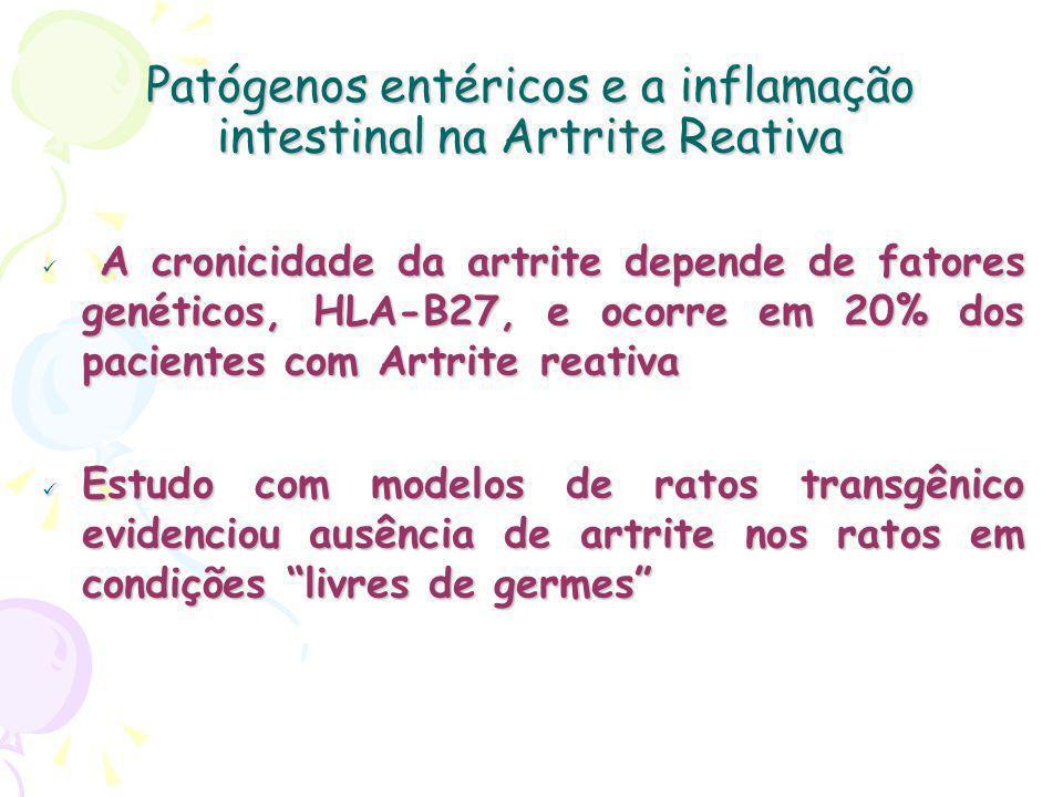 Patógenos entéricos e a inflamação intestinal na Artrite Reativa A cronicidade da artrite depende de fatores genéticos, HLA-B27, e ocorre em 20% dos pacientes com Artrite reativa Estudo com modelos de ratos transgênico evidenciou ausência de artrite nos ratos em condições livres de germes Estudo com modelos de ratos transgênico evidenciou ausência de artrite nos ratos em condições livres de germes