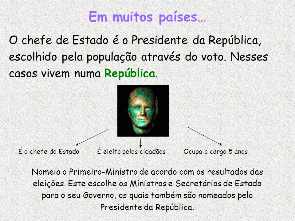 Em muitos países… O chefe de Estado é o Presidente da República, escolhido pela população através do voto. Nesses casos vivem numa República. É o chef