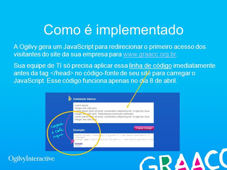 Como é implementado A Ogilvy gera um JavaScript para redirecionar o primeiro acesso dos visitantes do site da sua empresa para www.graacc.org.br.www.g
