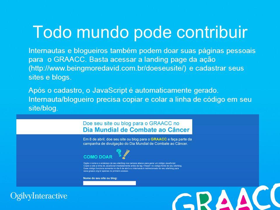 Todo mundo pode contribuir Internautas e blogueiros também podem doar suas páginas pessoais para o GRAACC. Basta acessar a landing page da ação (http: