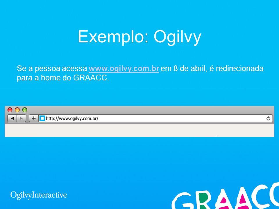 Exemplo: Ogilvy Se a pessoa acessa www.ogilvy.com.br em 8 de abril, é redirecionada para a home do GRAACC.www.ogilvy.com.br