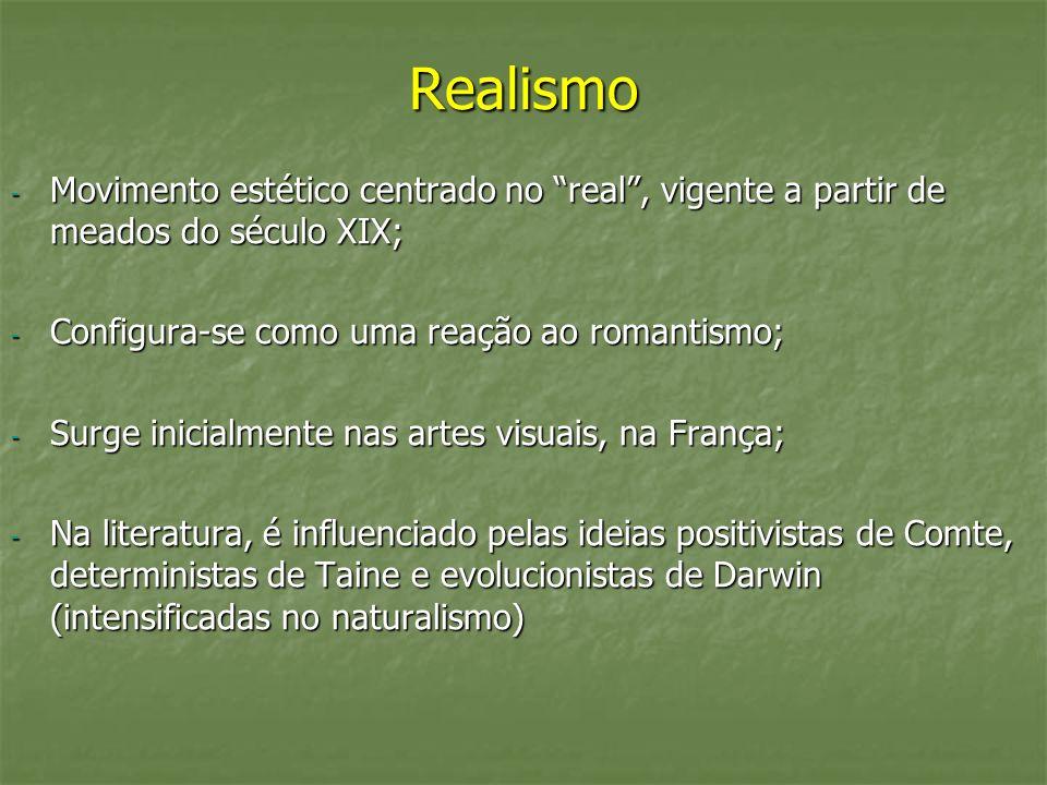 Realismo - Movimento estético centrado no real, vigente a partir de meados do século XIX; - Configura-se como uma reação ao romantismo; - Surge inicia