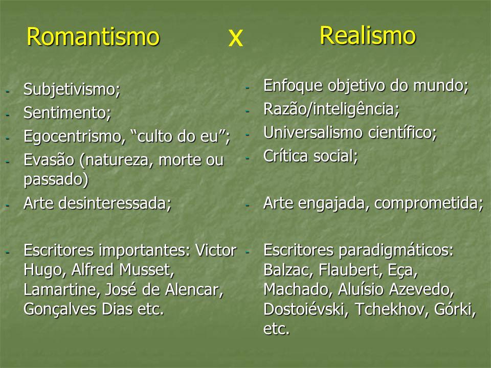 Realismo - Subjetivismo; - Sentimento; - Egocentrismo, culto do eu; - Evasão (natureza, morte ou passado) - Arte desinteressada; - Escritores importan