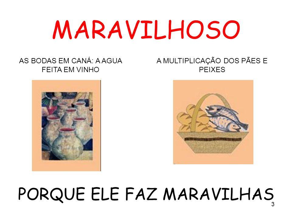 MARAVILHOSO PORQUE ELE FAZ MARAVILHAS A MULTIPLICAÇÃO DOS PÃES E PEIXES AS BODAS EM CANÁ: A AGUA FEITA EM VINHO 3