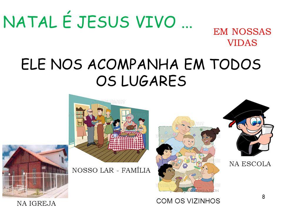 ELE NOS ACOMPANHA EM TODOS OS LUGARES NA IGREJA NATAL É JESUS VIVO... 8 NA ESCOLA NOSSO LAR - FAMÍLIA COM OS VIZINHOS EM NOSSAS VIDAS
