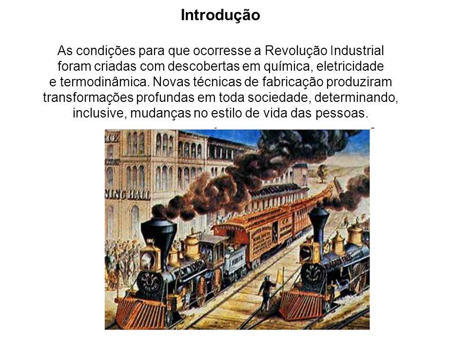 Introdução As condições para que ocorresse a Revolução Industrial foram criadas com descobertas em química, eletricidade e termodinâmica. Novas técnic
