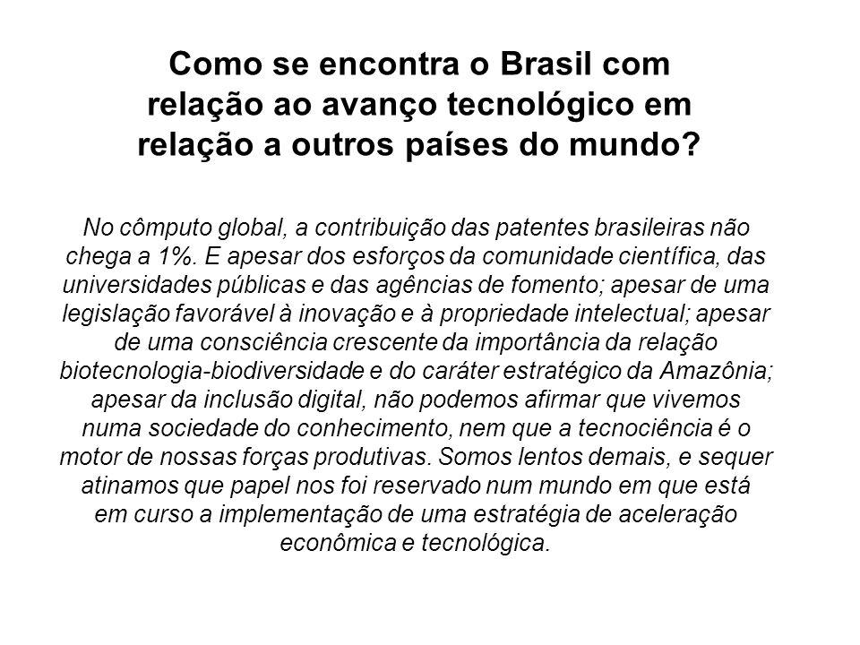 No cômputo global, a contribuição das patentes brasileiras não chega a 1%. E apesar dos esforços da comunidade científica, das universidades públicas