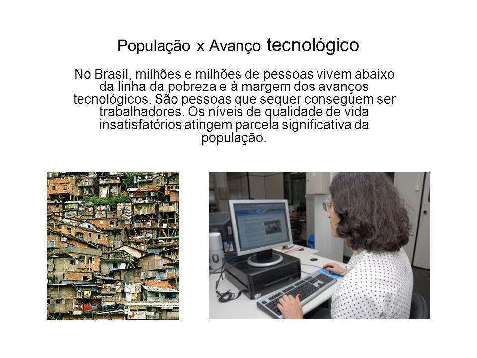 População x Avanço tecnológico No Brasil, milhões e milhões de pessoas vivem abaixo da linha da pobreza e à margem dos avanços tecnológicos. São pesso