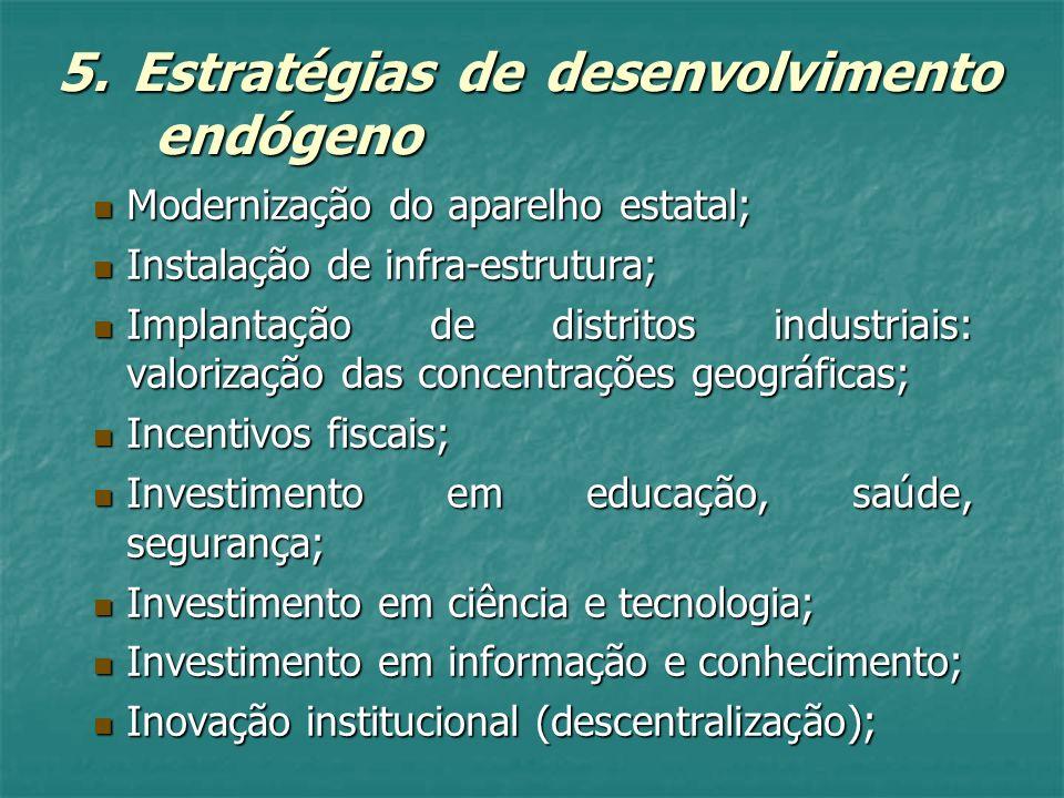 5. Estratégias de desenvolvimento endógeno Modernização do aparelho estatal; Modernização do aparelho estatal; Instalação de infra-estrutura; Instalaç