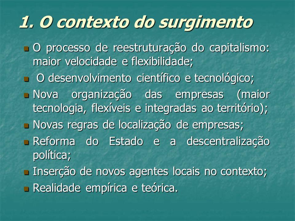 1. O contexto do surgimento O processo de reestruturação do capitalismo: maior velocidade e flexibilidade; O processo de reestruturação do capitalismo