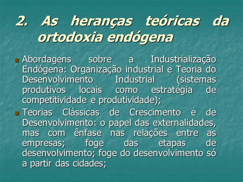 2. As heranças teóricas da ortodoxia endógena Abordagens sobre a Industrialização Endógena: Organização industrial e Teoria do Desenvolvimento Industr