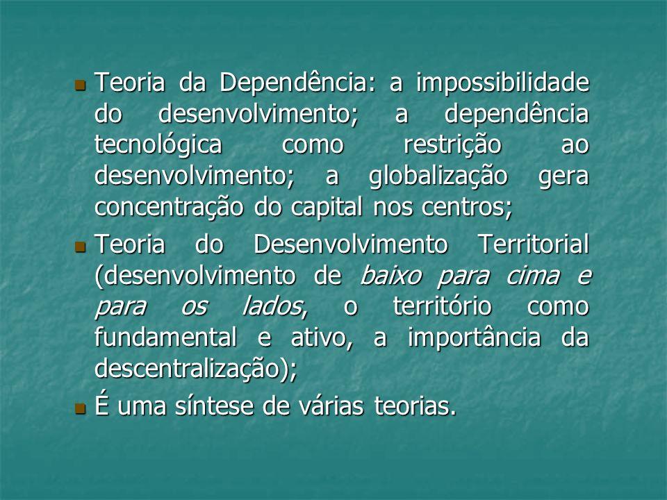 Teoria da Dependência: a impossibilidade do desenvolvimento; a dependência tecnológica como restrição ao desenvolvimento; a globalização gera concentr