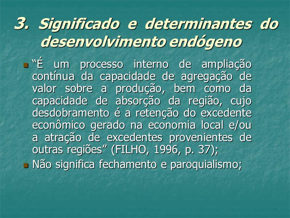 3. Significado e determinantes do desenvolvimento endógeno É um processo interno de ampliação contínua da capacidade de agregação de valor sobre a pro