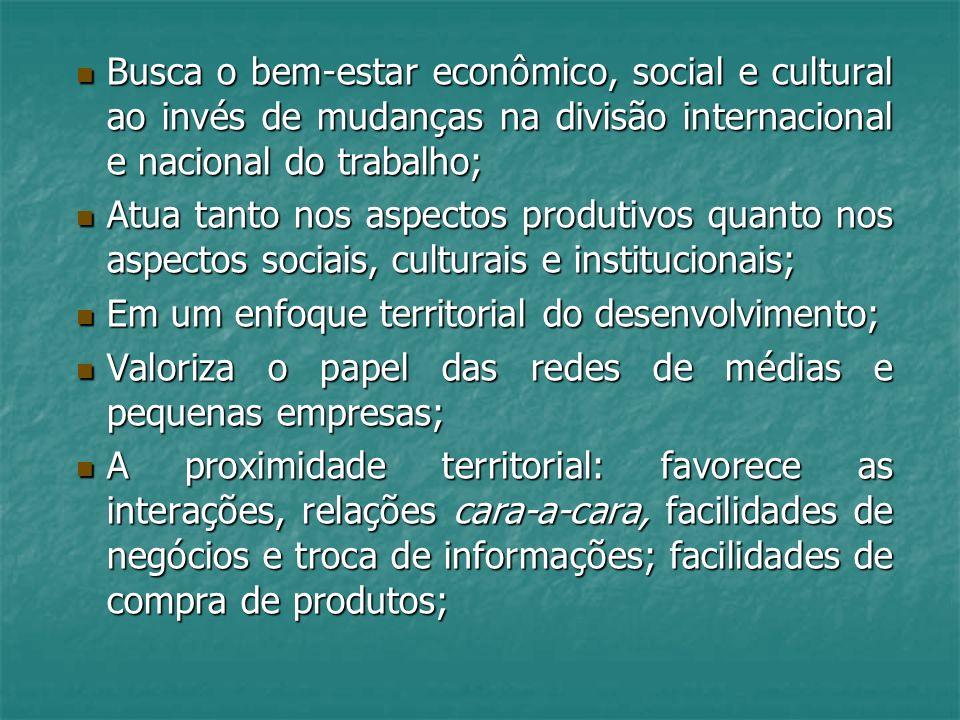 Busca o bem-estar econômico, social e cultural ao invés de mudanças na divisão internacional e nacional do trabalho; Busca o bem-estar econômico, soci