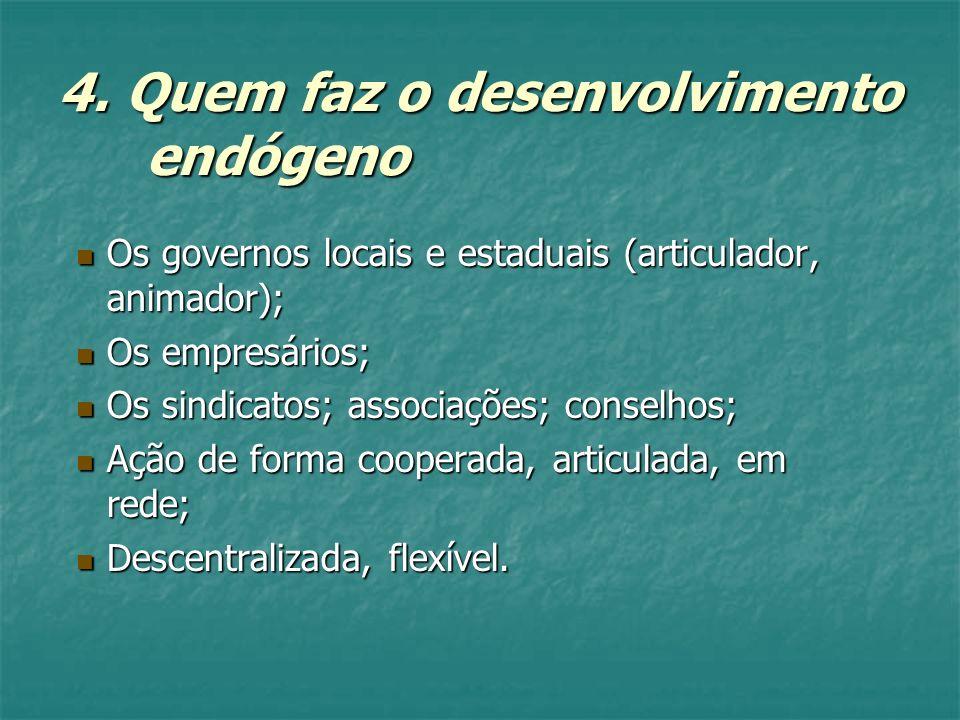 4. Quem faz o desenvolvimento endógeno Os governos locais e estaduais (articulador, animador); Os governos locais e estaduais (articulador, animador);