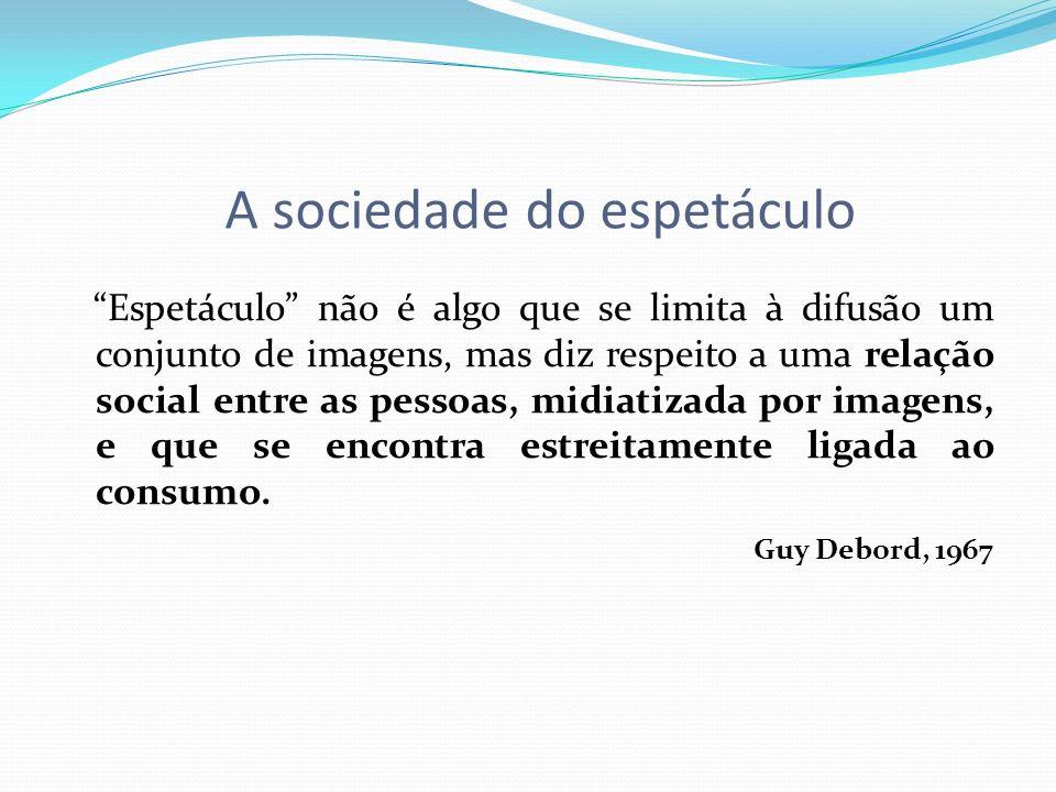 A sociedade do espetáculo Espetáculo não é algo que se limita à difusão um conjunto de imagens, mas diz respeito a uma relação social entre as pessoas