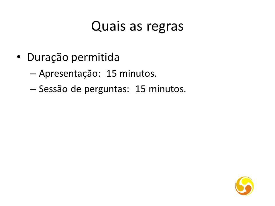 Quais as regras Duração permitida – Apresentação: 15 minutos. – Sessão de perguntas: 15 minutos.