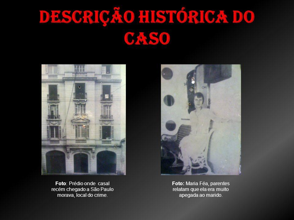Descrição histórica do caso Foto: Prédio onde casal recém chegado a São Paulo morava, local do crime. Foto: Maria Féa, parentes relatam que ela era mu