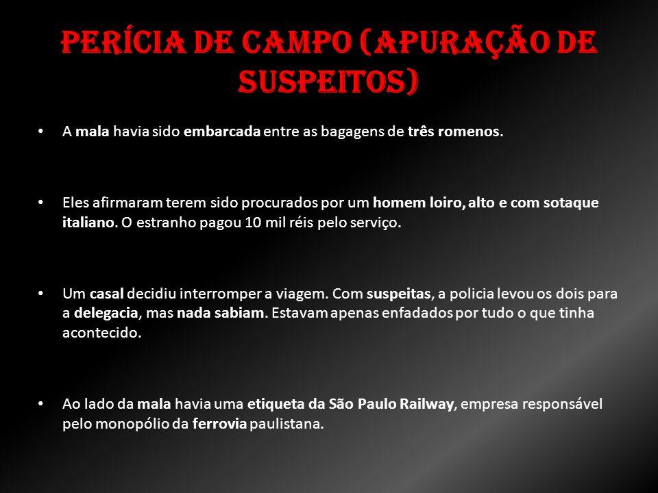 Perícia de Campo (Apuração de Suspeitos) A mala havia sido embarcada entre as bagagens de três romenos. Eles afirmaram terem sido procurados por um ho