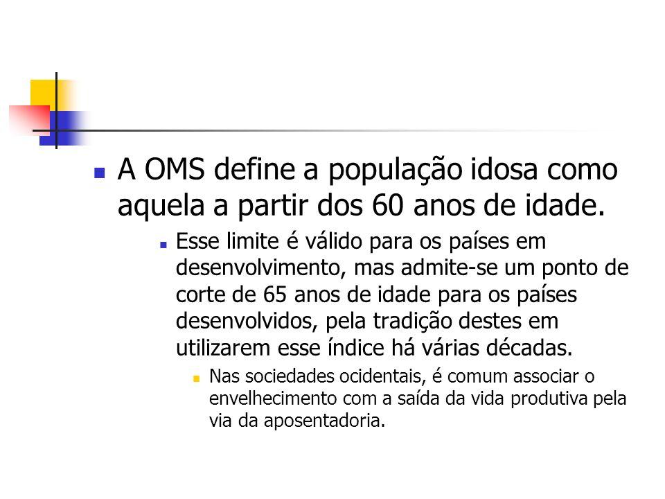 A OMS define a população idosa como aquela a partir dos 60 anos de idade. Esse limite é válido para os países em desenvolvimento, mas admite-se um pon