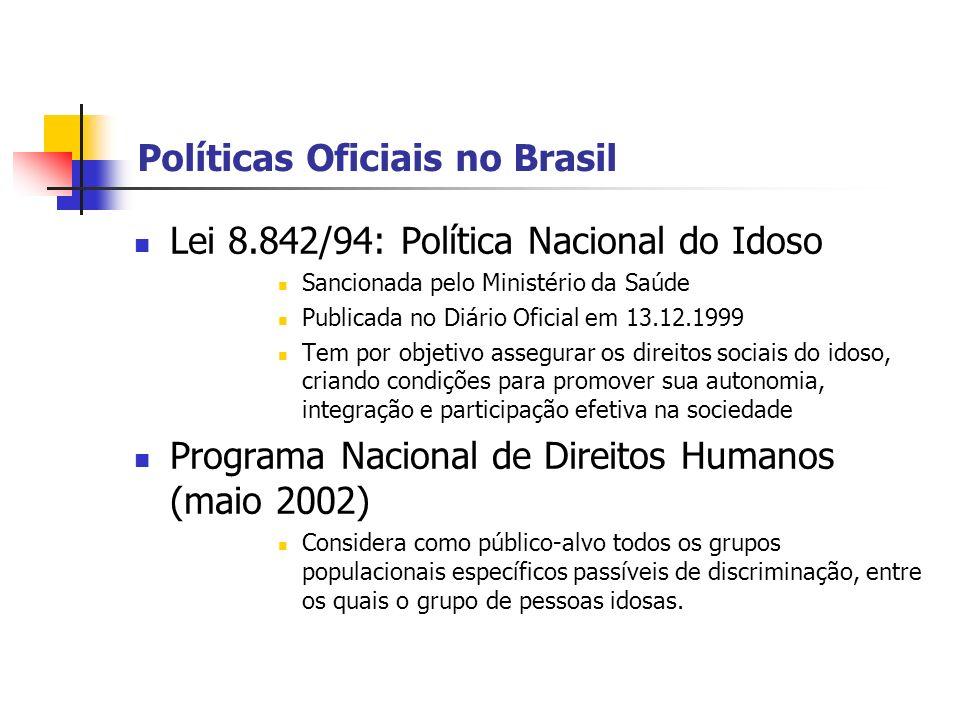 Políticas Oficiais no Brasil Lei 8.842/94: Política Nacional do Idoso Sancionada pelo Ministério da Saúde Publicada no Diário Oficial em 13.12.1999 Te