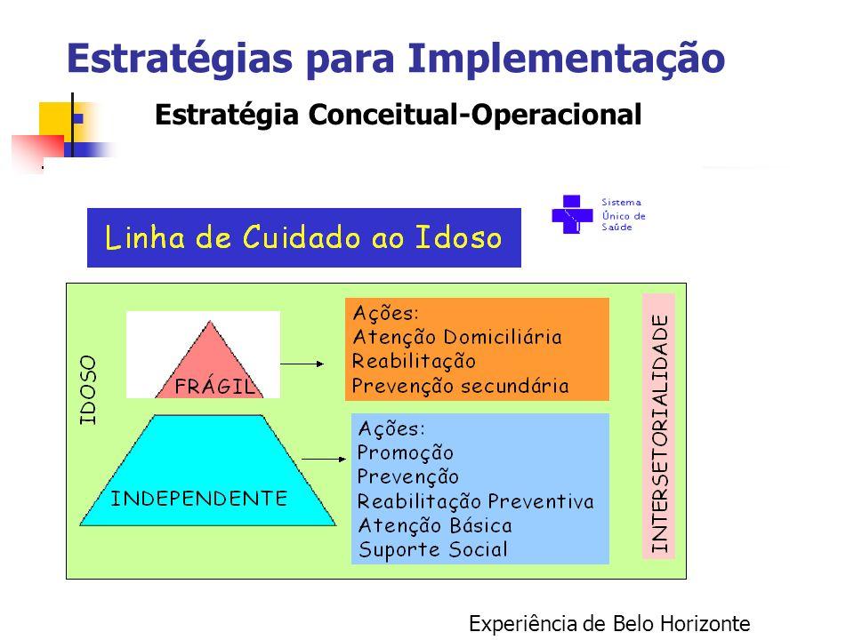 Estratégias para Implementação Estratégia Conceitual-Operacional Experiência de Belo Horizonte