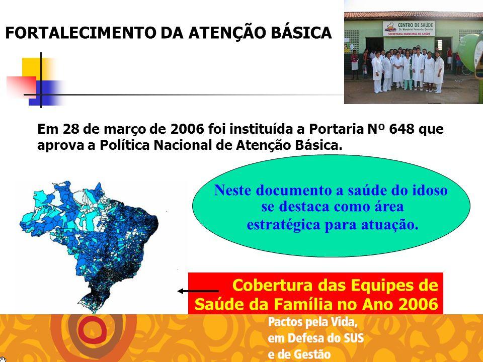 FORTALECIMENTO DA ATENÇÃO BÁSICA Cobertura das Equipes de Saúde da Família no Ano 2006 Em 28 de março de 2006 foi instituída a Portaria Nº 648 que apr