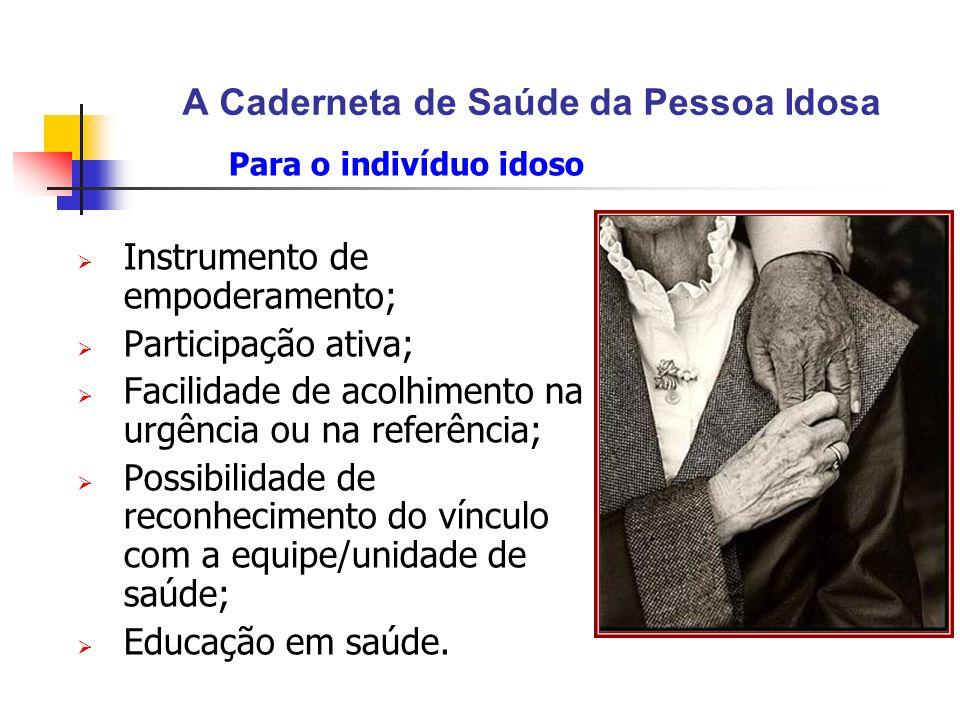 A Caderneta de Saúde da Pessoa Idosa Para o indivíduo idoso Instrumento de empoderamento; Participação ativa; Facilidade de acolhimento na urgência ou