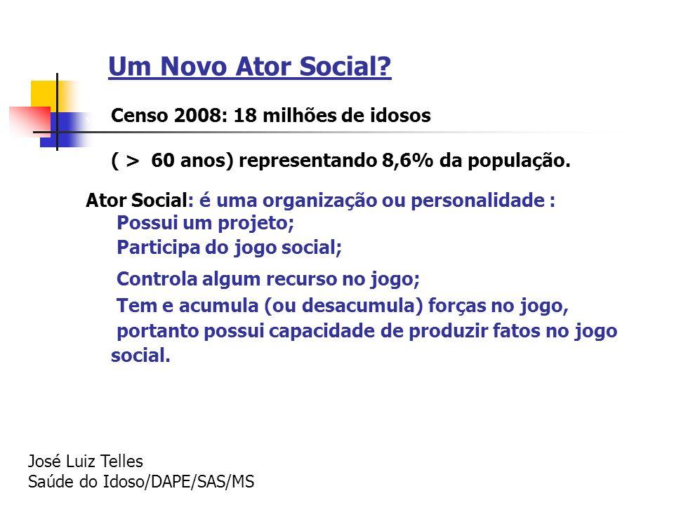 Um Novo Ator Social? v Censo 2008: 18 milhões de idosos v ( > 60 anos) representando 8,6% da população. Ator Social: é uma organização ou personalidad