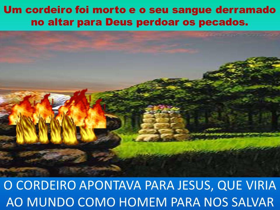 Um cordeiro foi morto e o seu sangue derramado no altar para Deus perdoar os pecados. O CORDEIRO APONTAVA PARA JESUS, QUE VIRIA AO MUNDO COMO HOMEM PA