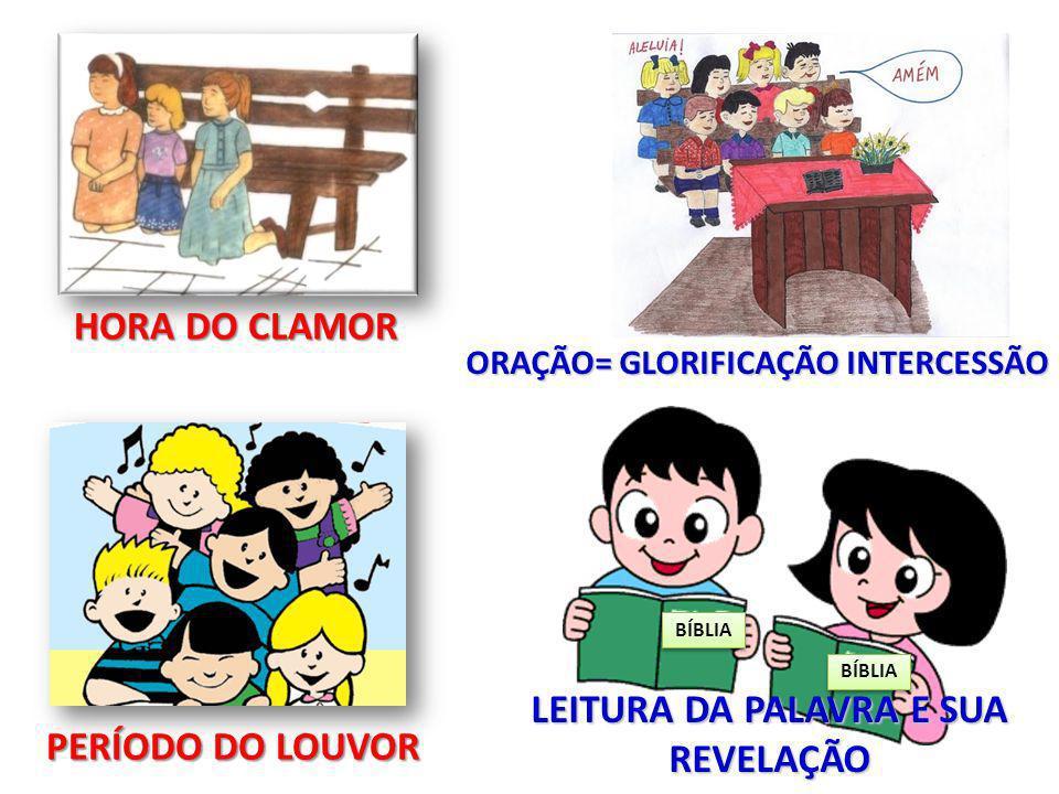 BÍBLIA HORA DO CLAMOR PERÍODO DO LOUVOR ORAÇÃO= GLORIFICAÇÃO INTERCESSÃO LEITURA DA PALAVRA E SUA REVELAÇÃO