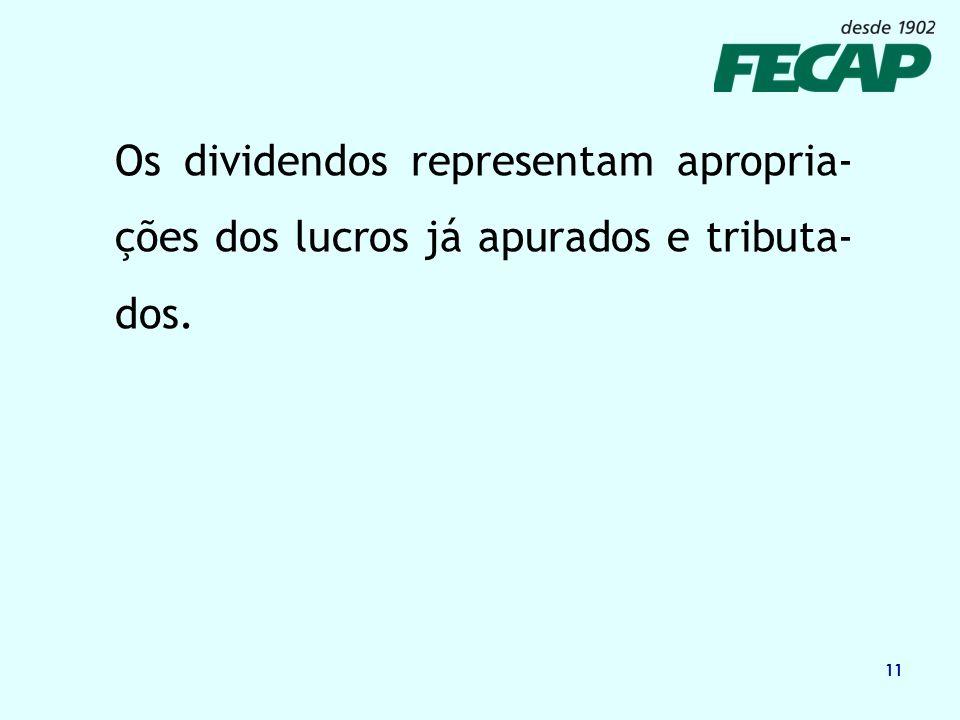 11 Os dividendos representam apropria- ções dos lucros já apurados e tributa- dos.