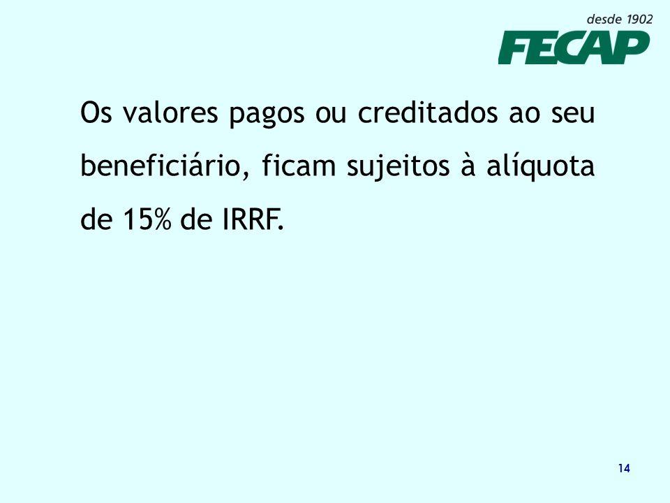 14 Os valores pagos ou creditados ao seu beneficiário, ficam sujeitos à alíquota de 15% de IRRF.