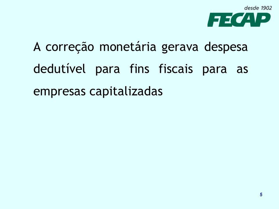 5 A correção monetária gerava despesa dedutível para fins fiscais para as empresas capitalizadas