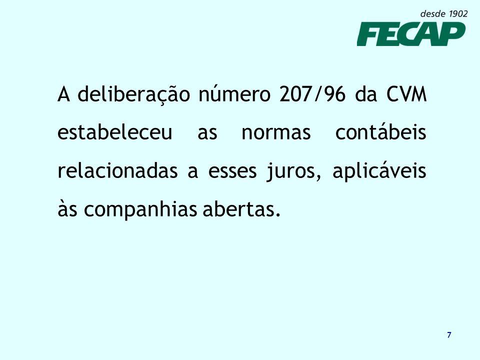 7 A deliberação número 207/96 da CVM estabeleceu as normas contábeis relacionadas a esses juros, aplicáveis às companhias abertas.