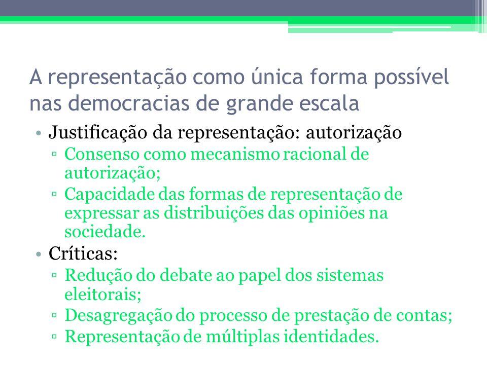 A representação como única forma possível nas democracias de grande escala Justificação da representação: autorização Consenso como mecanismo racional