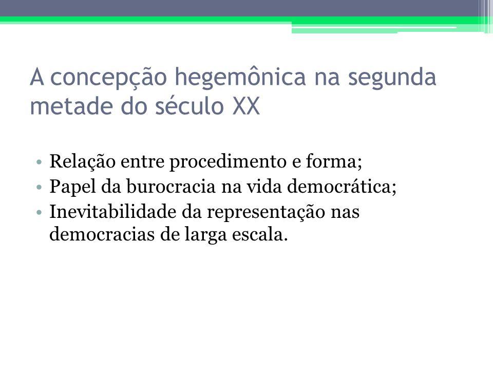A concepção hegemônica na segunda metade do século XX Relação entre procedimento e forma; Papel da burocracia na vida democrática; Inevitabilidade da