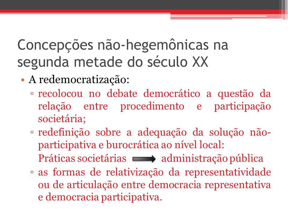 Concepções não-hegemônicas na segunda metade do século XX A redemocratização: recolocou no debate democrático a questão da relação entre procedimento