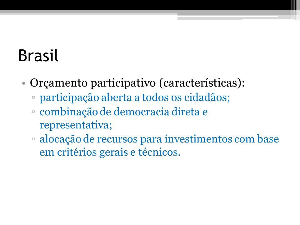 Brasil Orçamento participativo (características): participação aberta a todos os cidadãos; combinação de democracia direta e representativa; alocação
