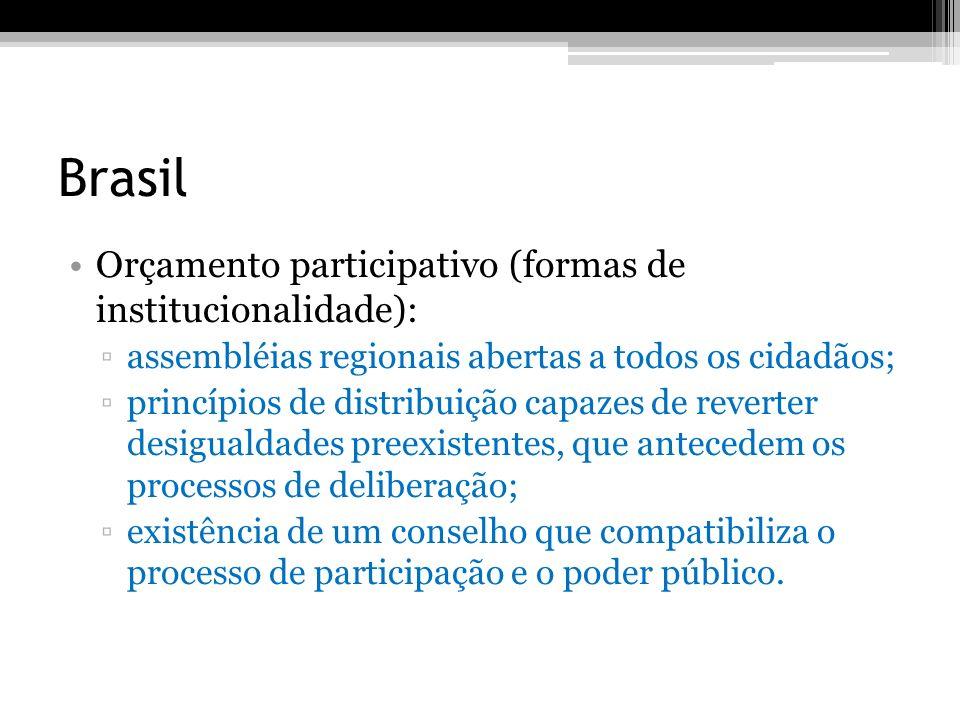 Brasil Orçamento participativo (formas de institucionalidade): assembléias regionais abertas a todos os cidadãos; princípios de distribuição capazes d