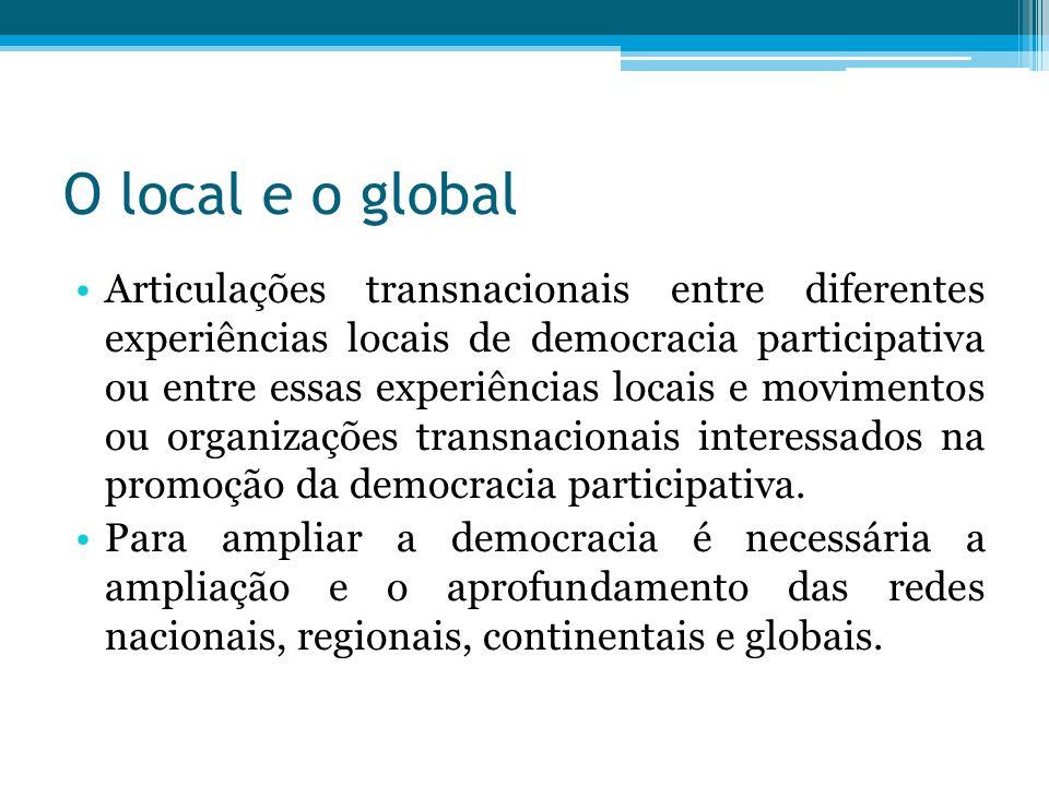 O local e o global Articulações transnacionais entre diferentes experiências locais de democracia participativa ou entre essas experiências locais e m