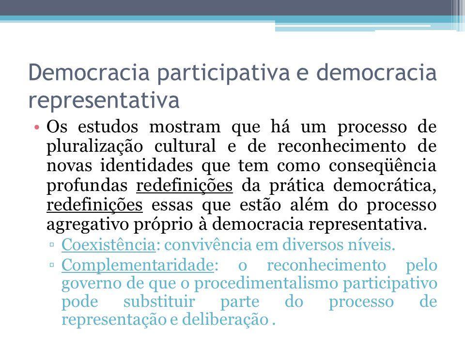 Democracia participativa e democracia representativa Os estudos mostram que há um processo de pluralização cultural e de reconhecimento de novas ident
