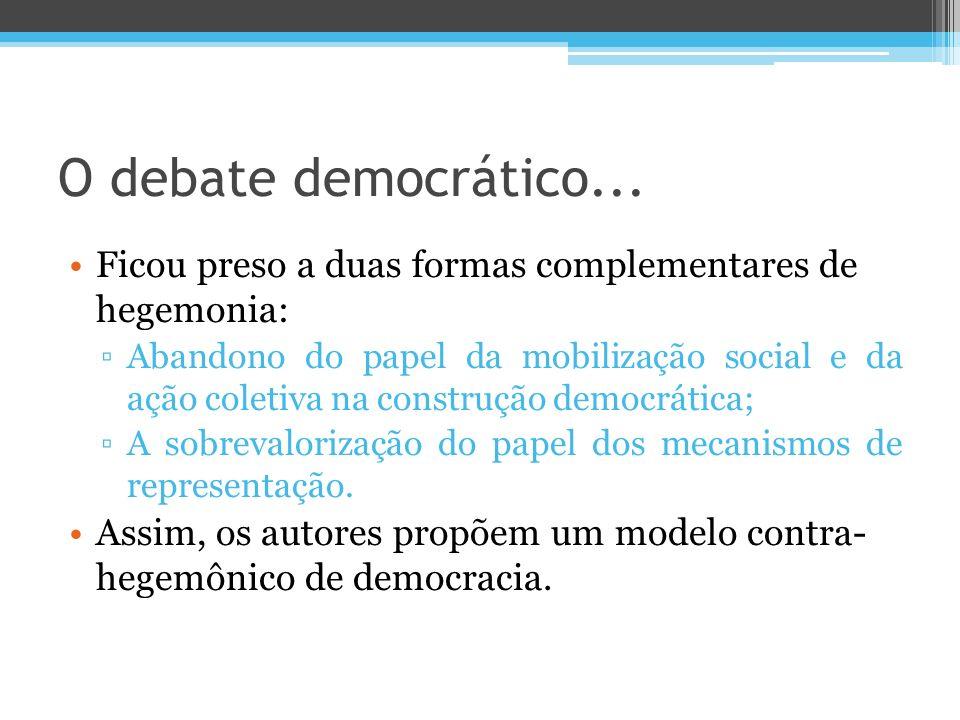 O debate democrático... Ficou preso a duas formas complementares de hegemonia: Abandono do papel da mobilização social e da ação coletiva na construçã